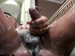 Thick cocked tranny exposes her big boobs and masturbates