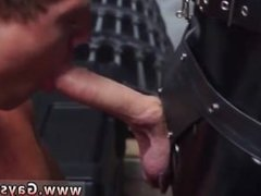 Group of big light skin males jerking off gay Dungeon master with a gimp