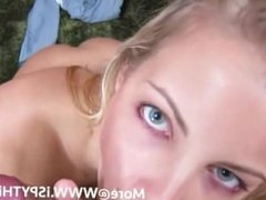 POV hot blonde sucking cock and balls