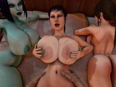 Trishka Gets fucked while Lara Croft and Soria watch 3D SFM [2013]