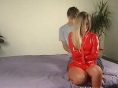 hot blond girl in straitjacket bondage