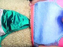 Cumshot on blue satin panties