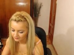 Happy blonde girl in webcam chat