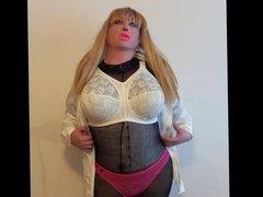 Doll in white bra