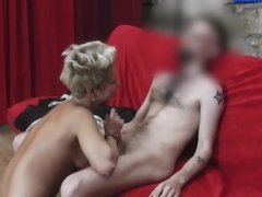 Rebel MILF gives BJ and rides a big cock