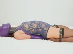 Asian Girl Latex armbinder & Sensory deprivation