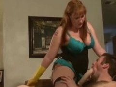 redhead amazon Wife bullies her husband and best friend into strapon sex