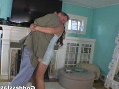 Tall Jasmine Mendez humiliates small man