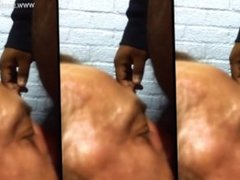 Blowjob on staircase, public, swallow