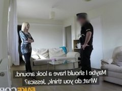 Fake Cop Slut gets fucked by cop in her flat