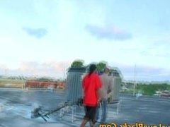 Black thug nailed on roof