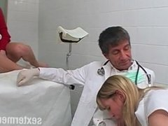 Doctor threesome with a small Teenie