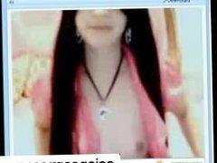 Asian girl strips and masturbates on cam