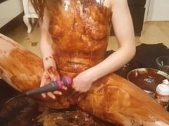 Making Myself into a Birthday Cake with Chocolate and Candles