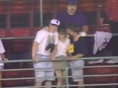 Baseball Game Threesome In Public