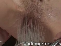 Roxy gets her hairy muff cleaned in the shower