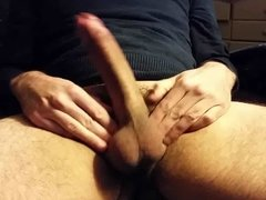 Stroking, slapping, and squeezing my fat, huge, hard cock