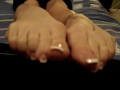 Foot fetish with french pedicure sexy feet suck on my toes