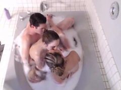 Lucky basterd in bath with two hot girls