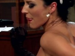 Leggy brunette Naomi getting fucked in her maid uniform and black gloves