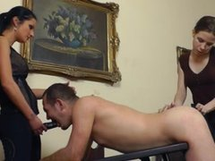 Two dominate women use one submissive man