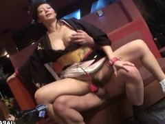 Sayuri getting her pussy handled in a wild threesome