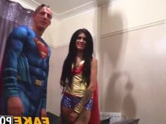 Tattoed cosplay loving chick fucks her boyfriend and a cop