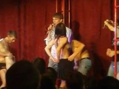 Wild sex on stage at party