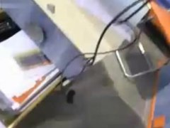 Nice teen flashes and touches herself at work in a furniture shop with risk