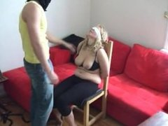 Blonde Chairtied and Slapped About by Master