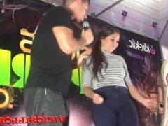Brunette pornstar show tits on stage