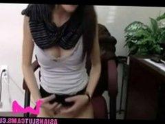 Asian secretary fingering at work for boss