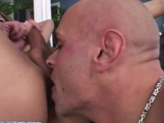 Big Tits Shemale deep throat blowjob while playing his dick