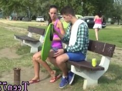 Teen gf suck first time Eveline getting pulverized on camping site