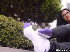 Sexy latina shows off her dirty sock fetish foot fetish