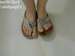 Pissing on Cute Dirty Flip Flops