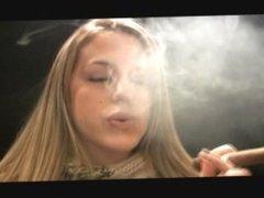 Beautiful Blonde Smokes Cigar