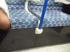 Flashing shaved cunt on public transport