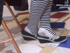 shoe play in filthy stank failed socks latina gets dirty