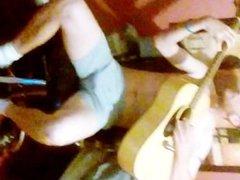 Bit Rigid Strums Guitar in his Underwear