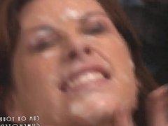 Hot Busty Brunette MILF Covered In Cum