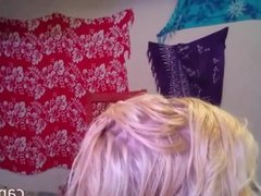 Short haired blonde teen twerks naked