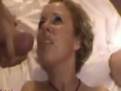 Cte lovely blonde girl suck two cocks and cum
