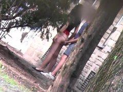 horney couple in public park