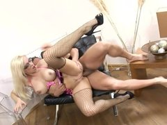 Blonde with glasses fucked in fishnet nylon