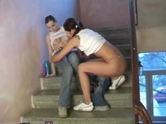 Ass whipped lesbian slave Young lezzies screwing in a hallway