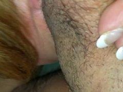Drinking girlfriend sloppy ball slurping blowjob