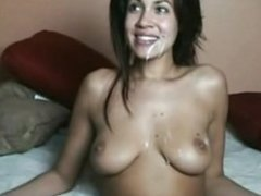 Great facial on beautiful and sexy brunette on camsyz(dot)com