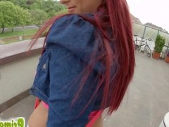 Primecups sexy redhead uses a dildo on herself