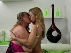 Granny licks and fucks young girl